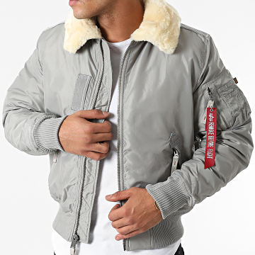 Alpha Industries - Bomber Col Mouton Injector III Gris