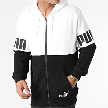 Puma - Sweat Zippé Capuche Coloblock 589432 Noir Blanc