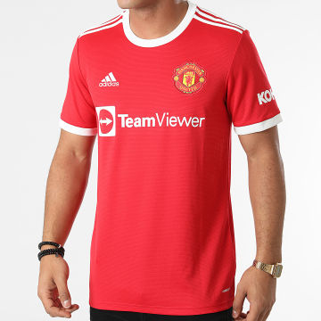 Adidas Performance - Tee Shirt De Sport A Bandes Manchester United FC H31447 Rouge