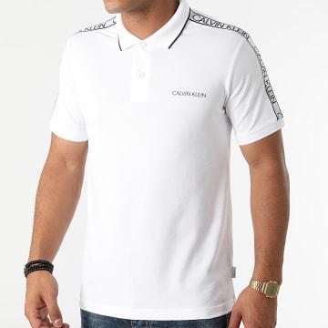 Calvin Klein - Polo Manches Courtes A Bandes Essential Logo Tape 7423 Ecru