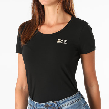 EA7 Emporio Armani - Tee Shirt Femme 6KTT18-TJ12Z Noir Doré