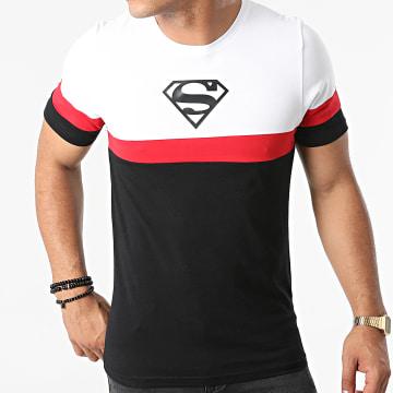 DC Comics - Tee Shirt Superman Logo Tricolore Noir Blanc Rouge