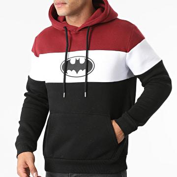 DC Comics - Sweat Capuche Batman Logo Tricolore Noir Bordeaux Blanc