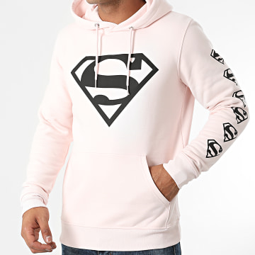 DC Comics - Sweat Capuche BW Front And Sleeve Rose Pastel Noir