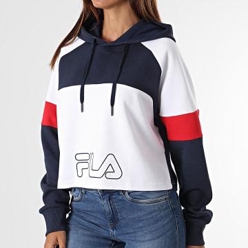 Fila - Sweat Capuche Femme Crop Tricolore Petra 683424 Blanc Bleu Marine