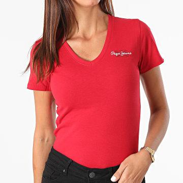 Pepe Jeans - Tee Shirt Femme Col V PL504820 Rouge