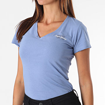 Pepe Jeans - Tee Shirt Femme Col V PL504820 Bleu Clair