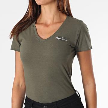Pepe Jeans - Tee Shirt Femme Col V PL504820 Vert Kaki