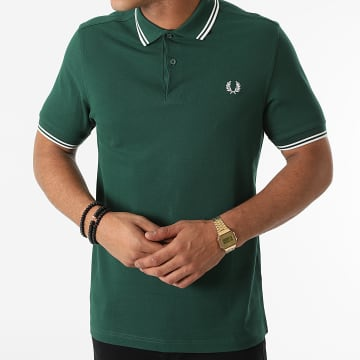 Fred Perry - Polo Manches Courtes Twin Tipped M3600 Vert Anglais