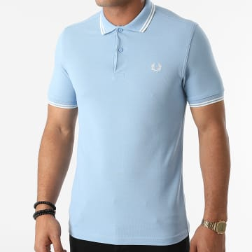 Fred Perry - Polo Manches Courtes Twin Tipped M3600 Bleu Ciel