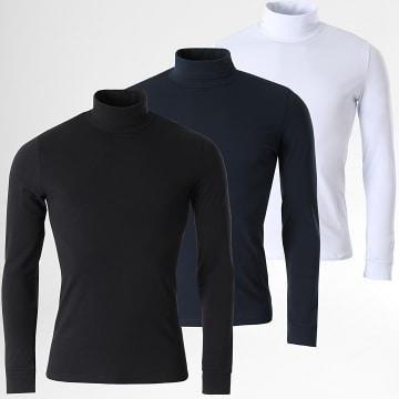 LBO - Lot De 3 Tee Shirts Col Roulé Manches Longues Unis 1991 Noir Bleu Marine Blanc