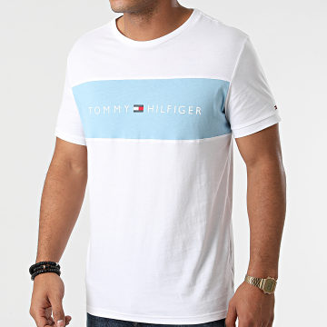 Tommy Hilfiger - Tee Shirt CN Logo Flag 1170 Blanc Bleu Ciel