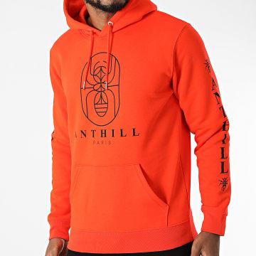 Anthill - Sweat Capuche Outline Orange Vif Noir