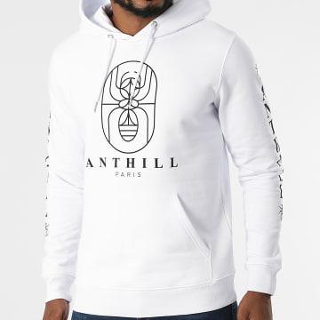 Anthill - Sweat Capuche Outline Blanc Noir