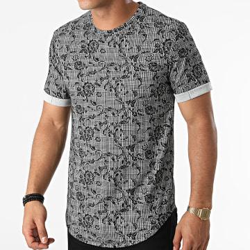 Frilivin - Tee Shirt Oversize Carreaux Et Floral 15210 Noir Gris