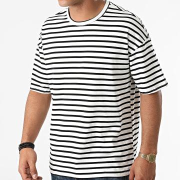 Frilivin - Tee Shirt A Rayures BM1333 Blanc Noir