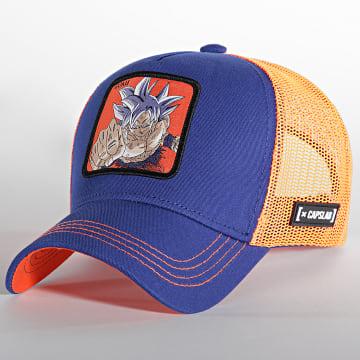 Capslab - Casquette Trucker Goku Bleu Roi Orange Fluo