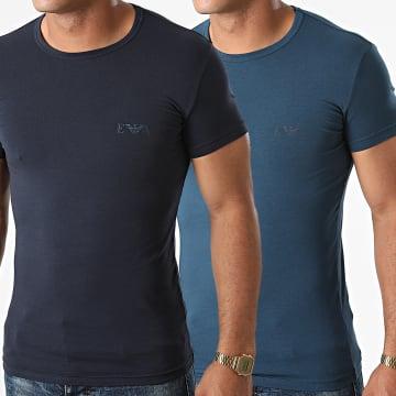 Emporio Armani - Lot De 2 Tee Shirts 111670-1A715 Bleu Marine Bleu Petrole
