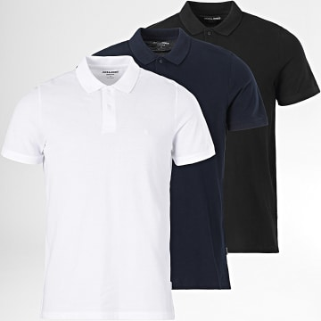 Jack And Jones - Lot De 3 Polos Manches Courtes Basic Blanc Noir Bleu Marine