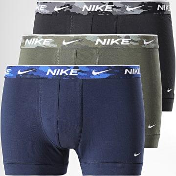 Nike - Lot De 3 Boxers Everyday Cotton Stretch KE1008 Noir Vert Kaki Bleu Marine Camo