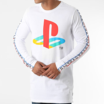 Playstation - Tee Shirt Oversize Manches Longues Taping Blanc