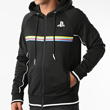 Playstation - Sweat Zippé Capuche Color Stripe Noir