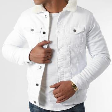 Black Industry - Veste Jean Col Mouton 042 Blanc