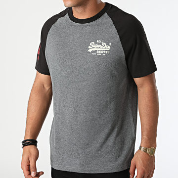 Superdry - Tee Shirt Vintage Logo AC Raglan M1011209A Gris Chiné Noir
