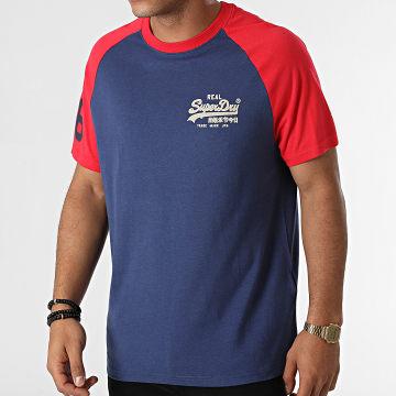 Superdry - Tee Shirt Vintage Logo AC Raglan M1011209A Bleu Rouge
