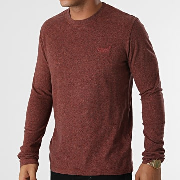 Superdry - Tee Shirt Manches Longues Vintage Logo Embroidery M6010550A Marron Chiné