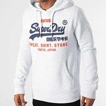 Superdry - Sweat Capuche Shop Duo M2011901A Gris Clair Chiné