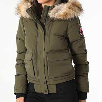 Superdry - Bomber Capuche Fourrure Femme Everest Vert Kaki