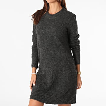 Only - Robe Pull Femme Manches Longues Crea Treats Gris Anthracite Chiné