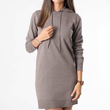 Only - Robe Pull Femme A Capuche Mischa Taupe
