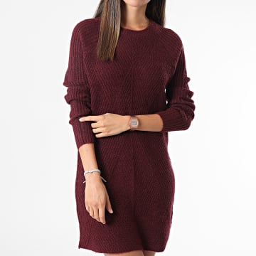 Only - Robe Pull Femme Manches Longues Carol Bordeaux