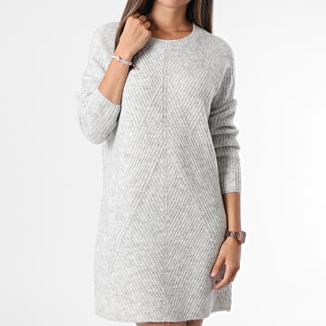 Only - Robe Pull Femme Manches Longues Carol Gris Chiné