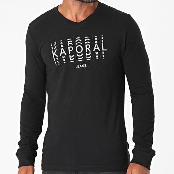 Kaporal - Tee Shirt Manches Longues Col V Rico Noir Réfléchissant