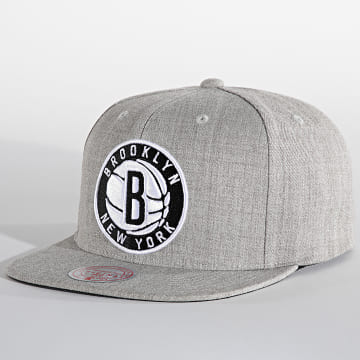 Mitchell and Ness - Casquette Snapback Team Heather Brooklyn Nets Gris Chiné