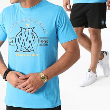 OM - Ensemble Tee Shirt Short M21047C Bleu Clair Noir