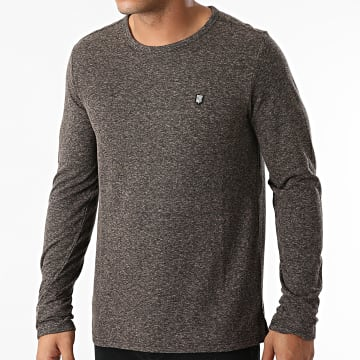 Teddy Smith - Tee Shirt Manches Longues Mae Marron Gris Anthracite Chiné