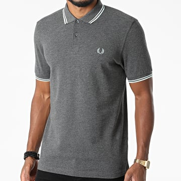 Fred Perry - Polo Manches Courtes Twin Tipped M3600 Gris Anthracite Chiné