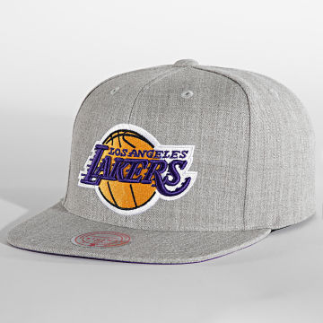 Mitchell and Ness - Casquette Snapback Team Heater Los Angeles Lakers Gris Chiné