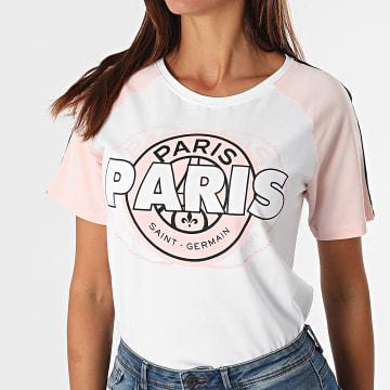 PSG - Tee Shirt A Bandes HCP143 Blanc Rose