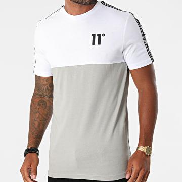 11 Degrees - Tee Shirt A Bandes 11D852 Blanc Gris