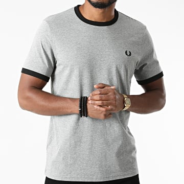 Fred Perry - Tee Shirt Ringer Gris Chiné
