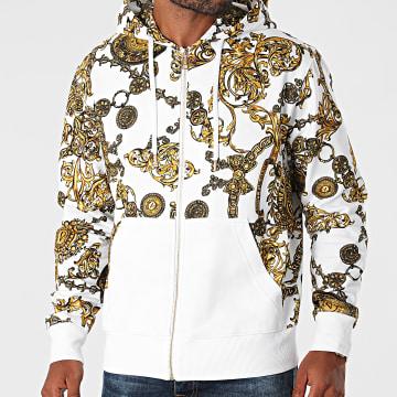 Versace Jeans Couture - Sweat Zippé Capuche Contrast 71GAI3Z1-FS002 Blanc Renaissance Floral