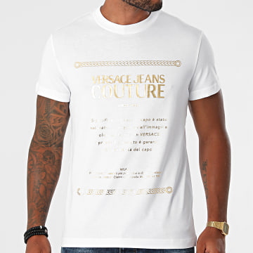 Versace Jeans Couture - Tee Shirt Garanzia Foil 71GAHT01-CJ00T Blanc Doré
