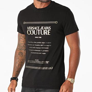 Versace Jeans Couture - Tee Shirt Garanzia Foil 71GAHT01-CJ00T Noir Doré