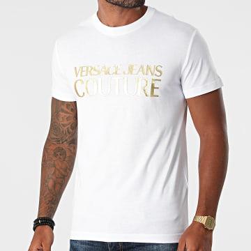 Versace Jeans Couture - Tee Shirt Logo Foil 71GAHT04-CJ00T Blanc Doré