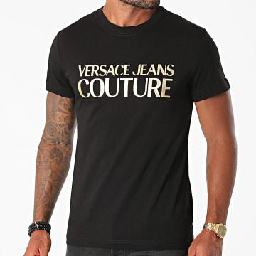 Versace Jeans Couture - Tee Shirt Logo Foil 71GAHT04-CJ00T Noir Doré
